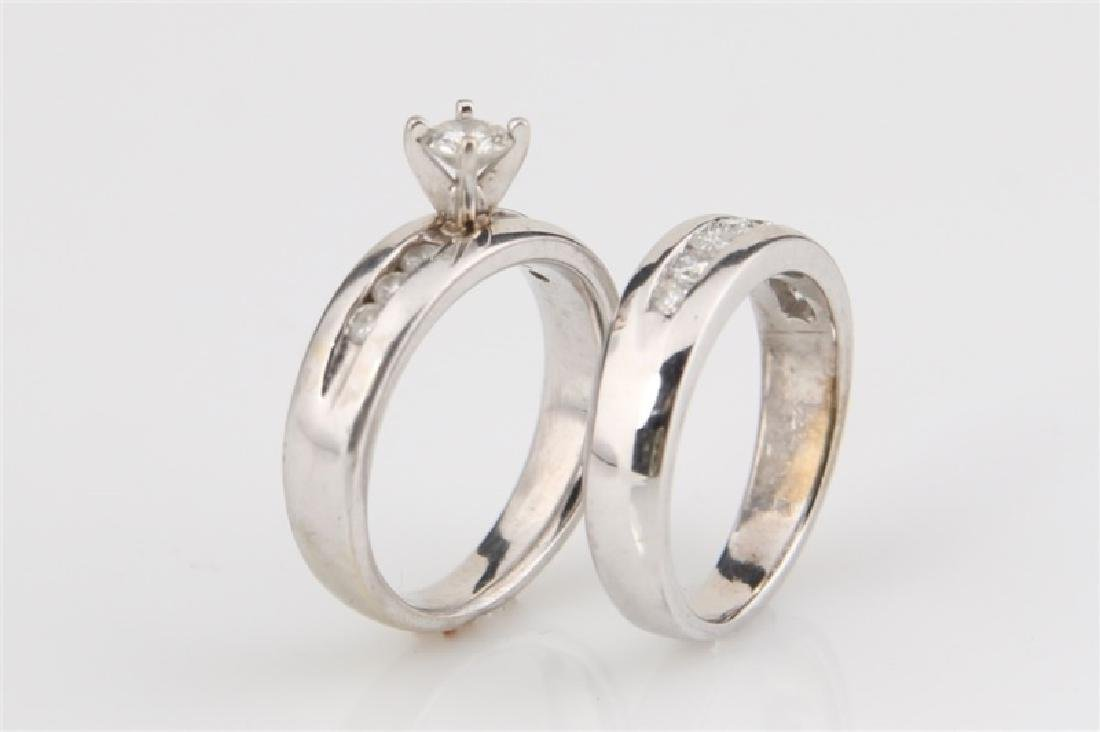 10k White Gold with Diamonds Wedding Set - 4