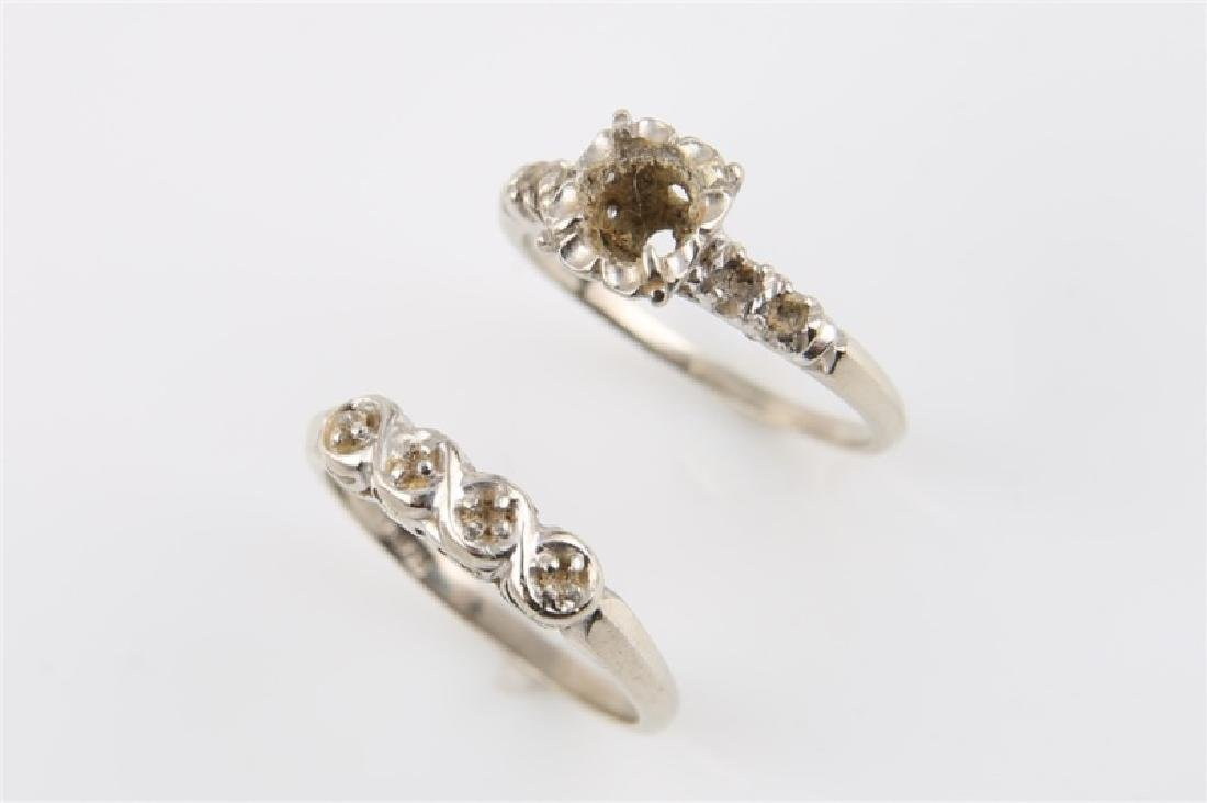 Pair of 14kt White Gold Empty Setting Rings - 2