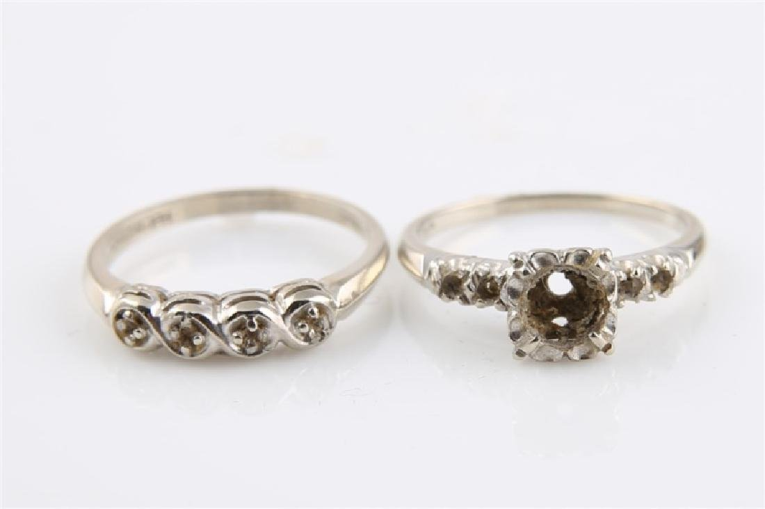 Pair of 14kt White Gold Empty Setting Rings - 3
