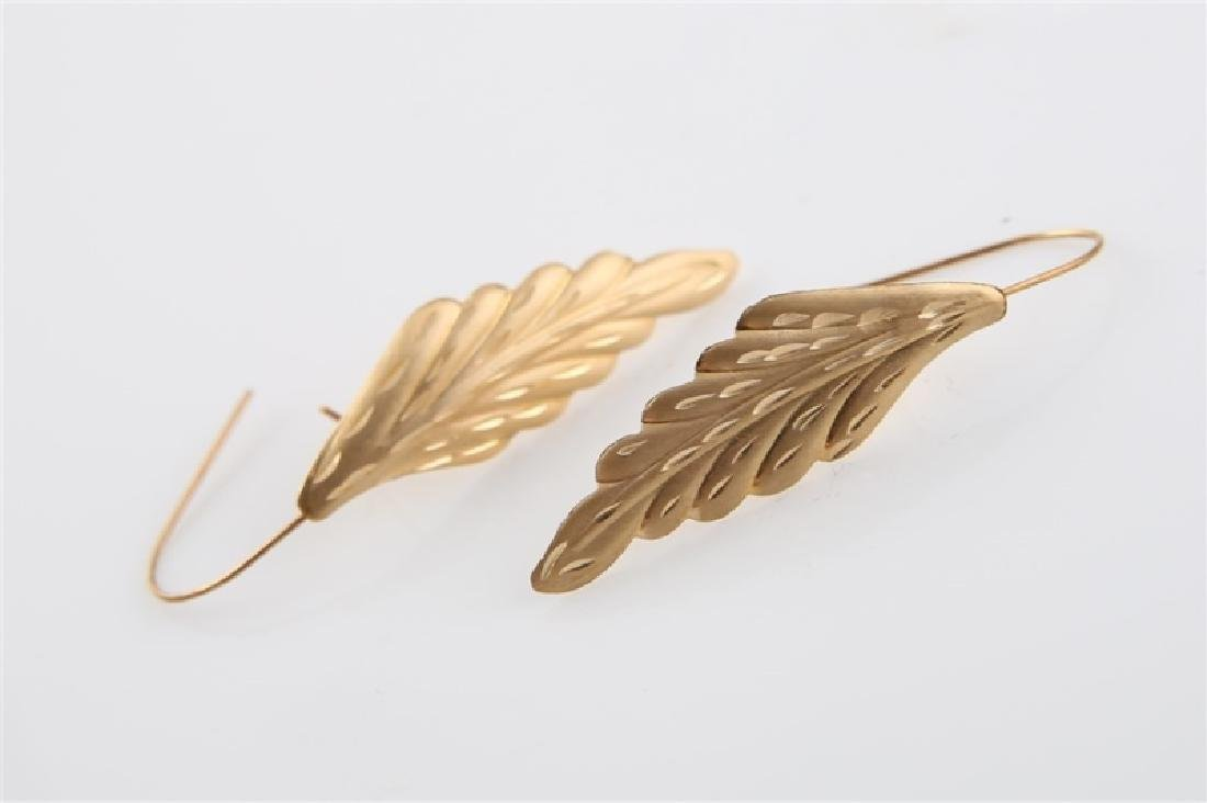 Pair of 14kt Yellow Gold Leaf Earrings