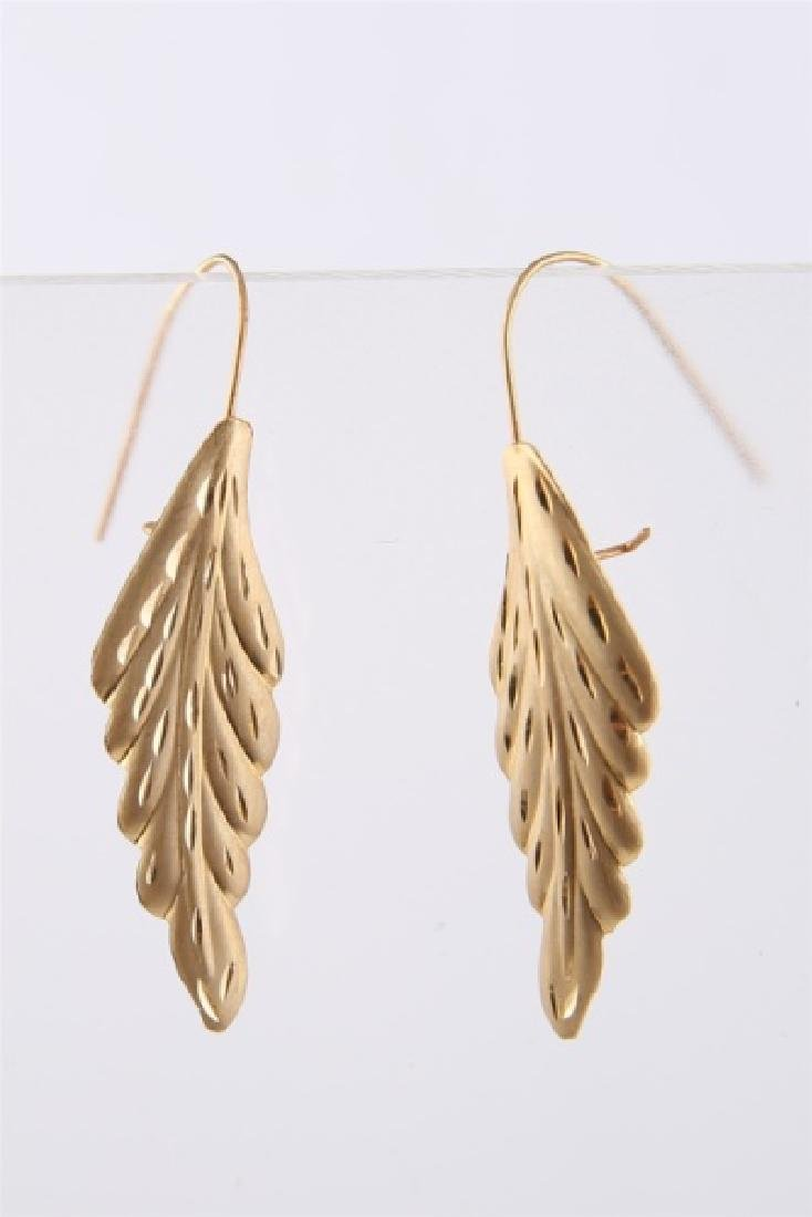 Pair of 14kt Yellow Gold Leaf Earrings - 3