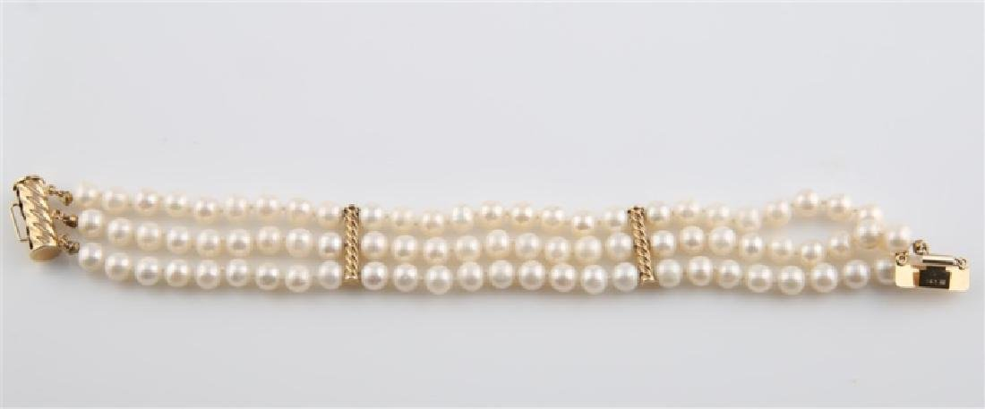 14kt Yellow Gold Pearl Bracelet - 2