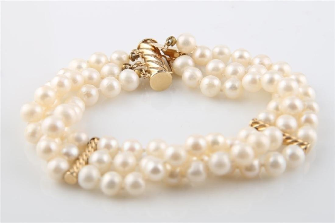 14kt Yellow Gold Pearl Bracelet - 4