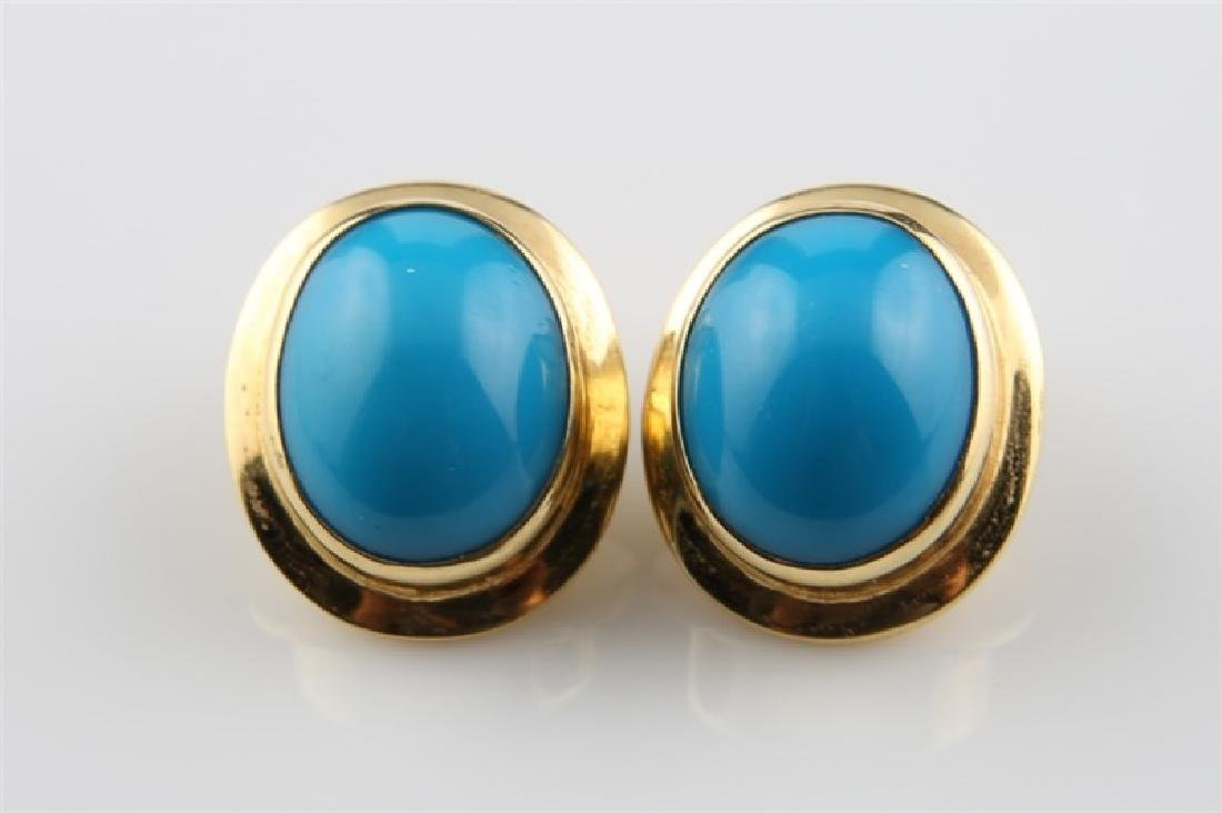Pair of 18kt Yellow Gold and Turquoise Earrings