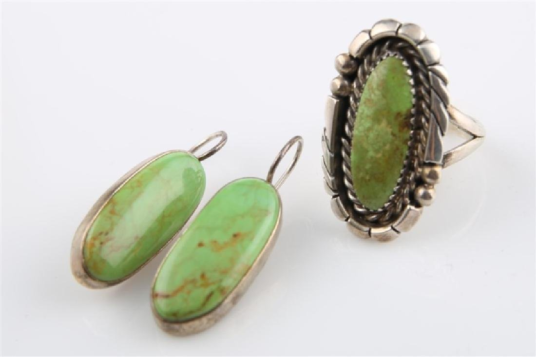 Pair of Sterling and Green Turq Earrings & Ring