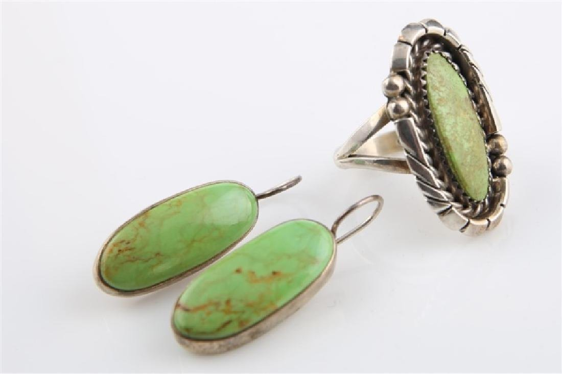 Pair of Sterling and Green Turq Earrings & Ring - 2