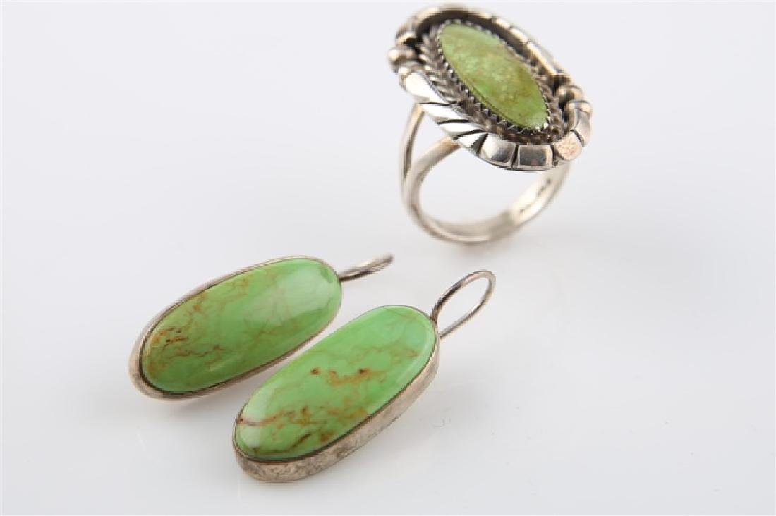 Pair of Sterling and Green Turq Earrings & Ring - 3