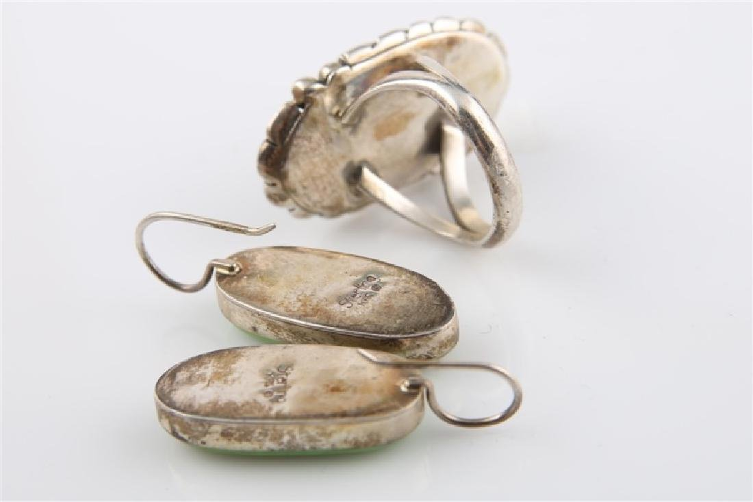 Pair of Sterling and Green Turq Earrings & Ring - 5