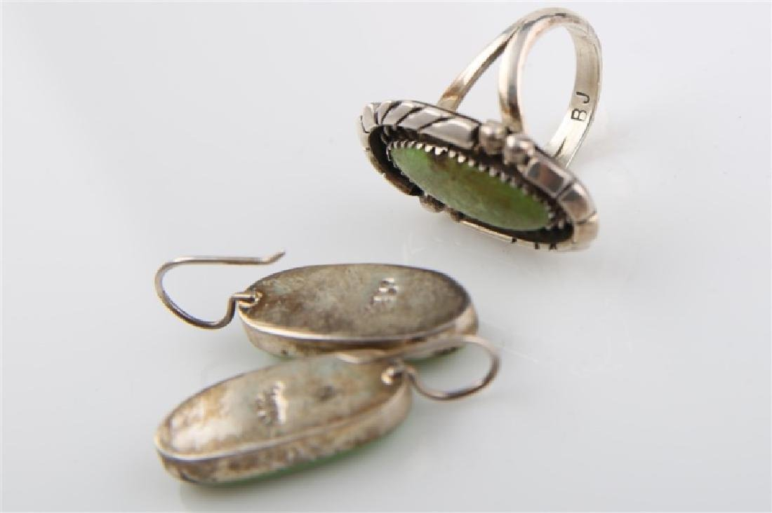 Pair of Sterling and Green Turq Earrings & Ring - 6