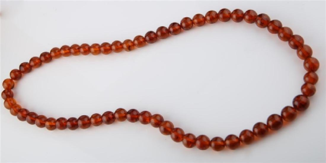 Amber Round Bead Necklace - 3