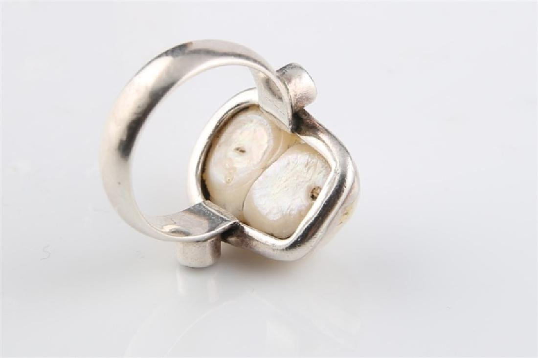 Sterling Silver and Pearl Ring - 6