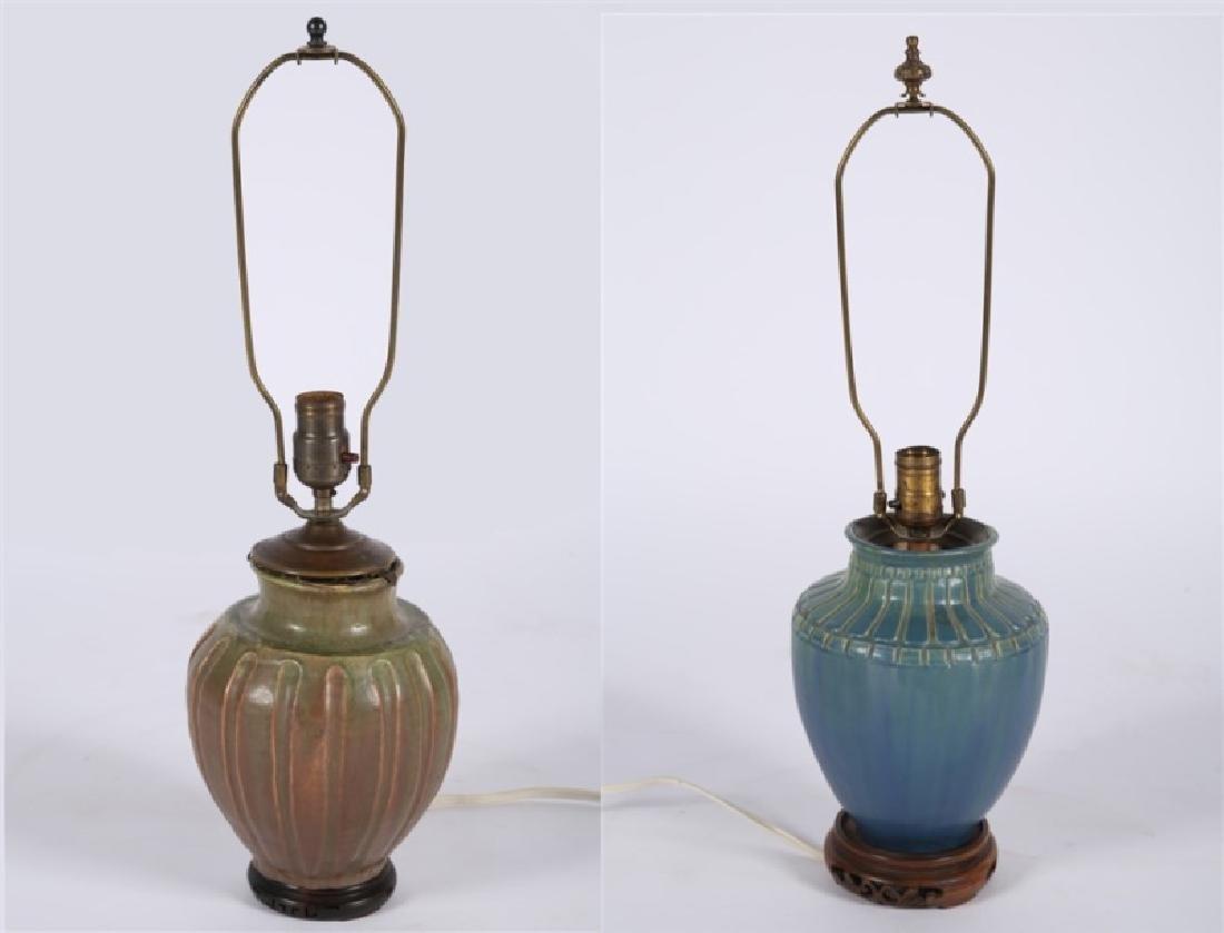 Pair of Pewabic-style Ceramic Jar Table Lamps