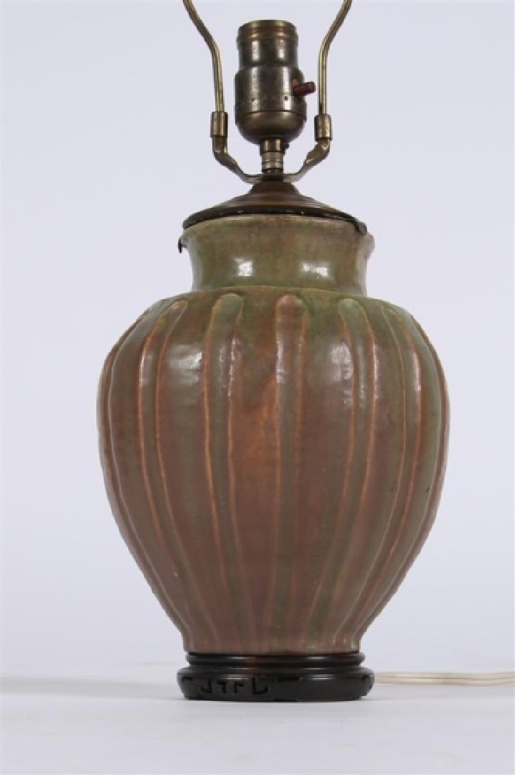 Pair of Pewabic-style Ceramic Jar Table Lamps - 2