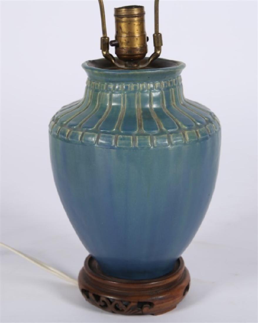 Pair of Pewabic-style Ceramic Jar Table Lamps - 4
