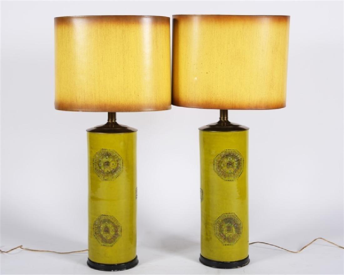 Pair of Green Ceramic Lamps