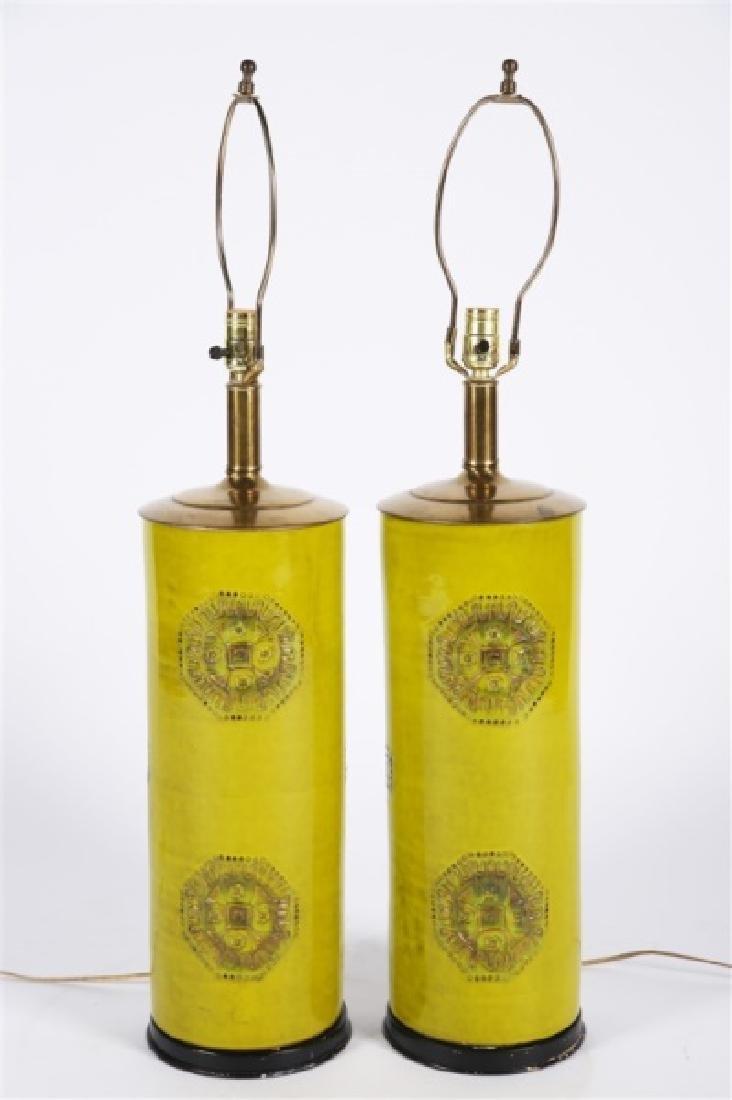 Pair of Green Ceramic Lamps - 2