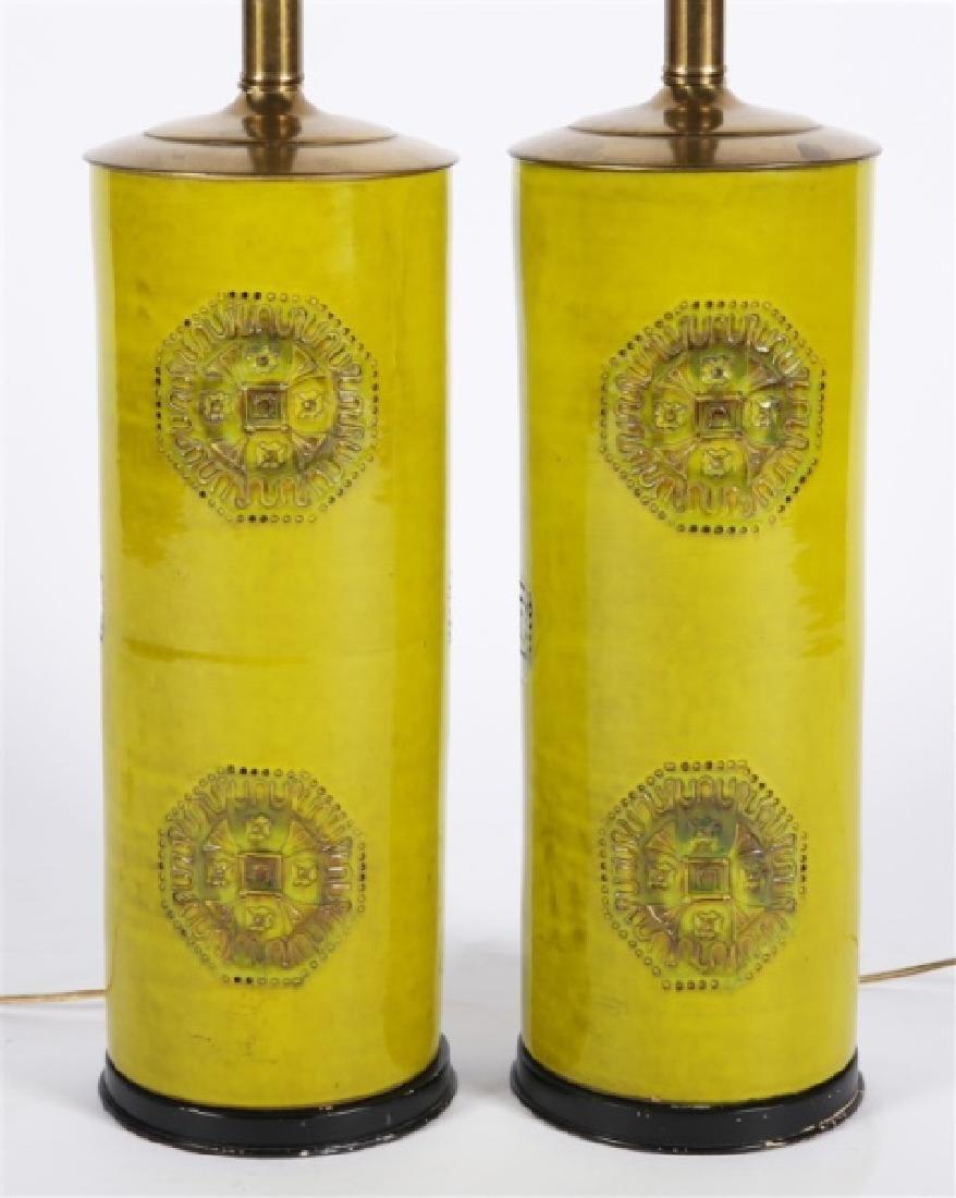 Pair of Green Ceramic Lamps - 3