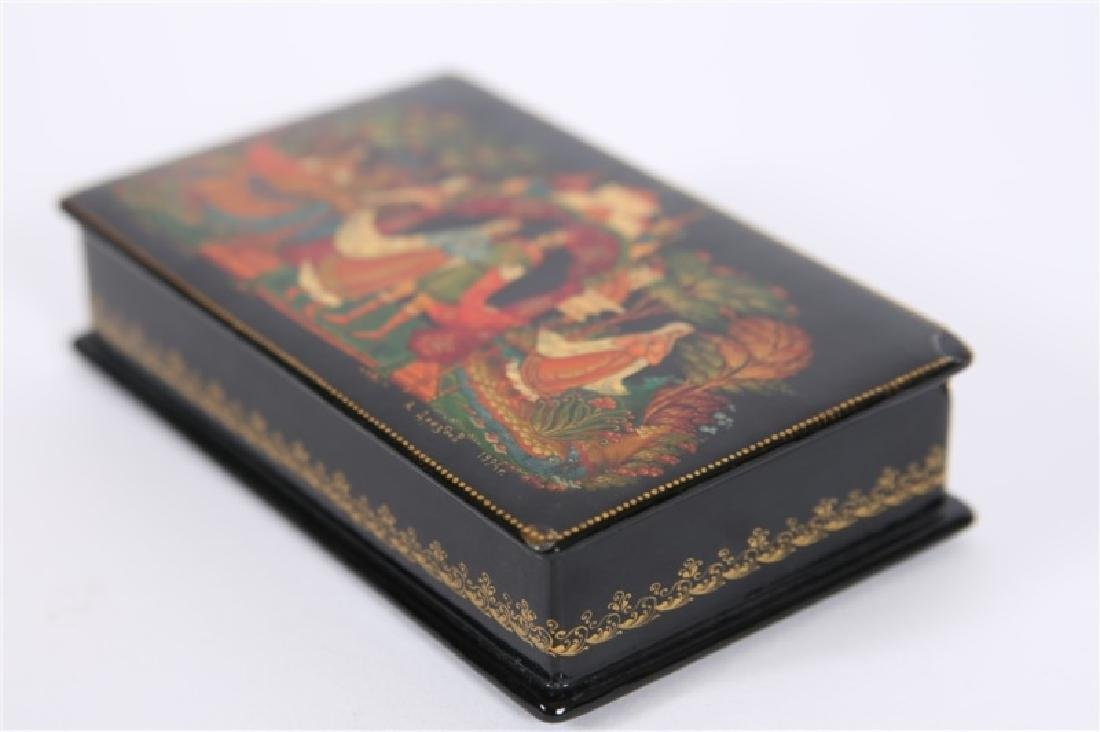 Palekh Russia, Hand Painted Lacquer Box - 3