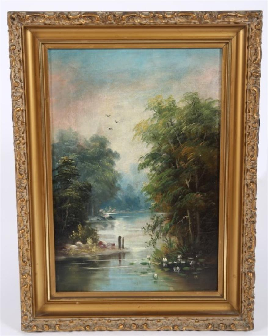Unsigned Oil on Canvas River Scene