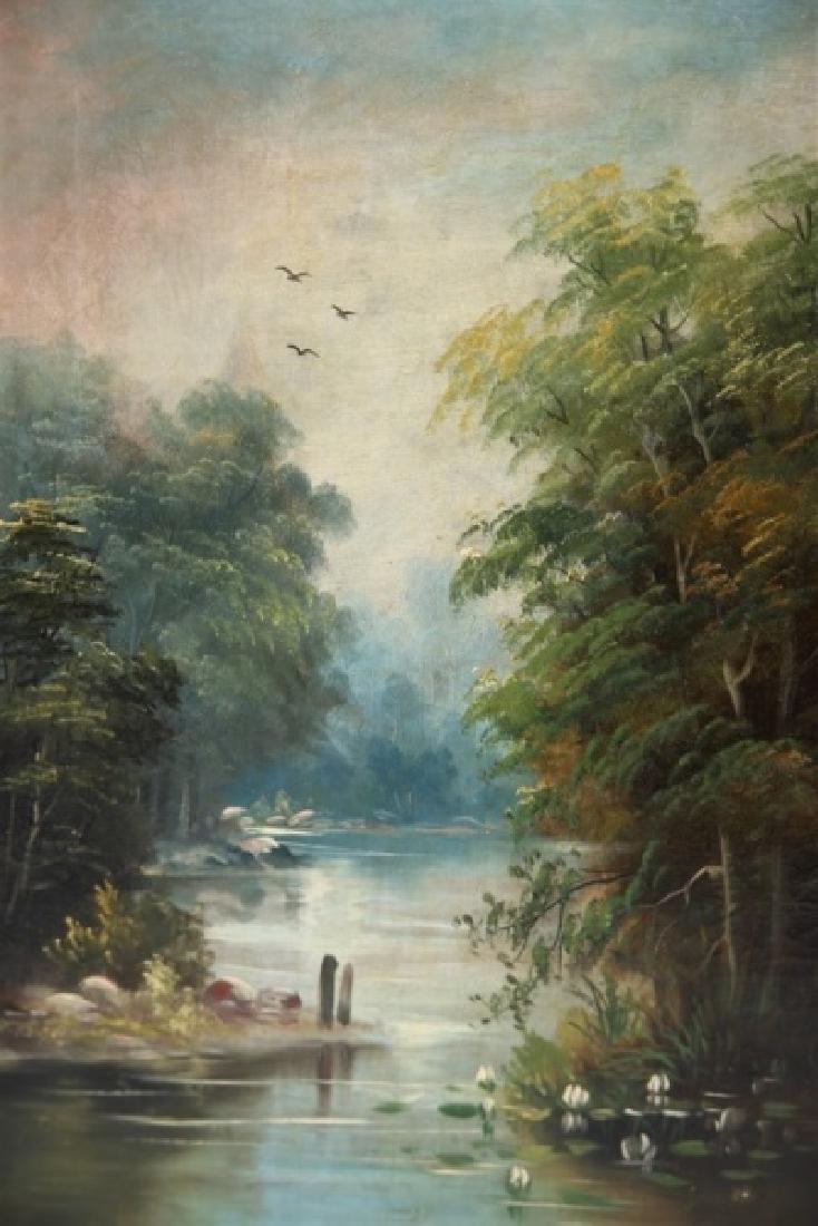 Unsigned Oil on Canvas River Scene - 2