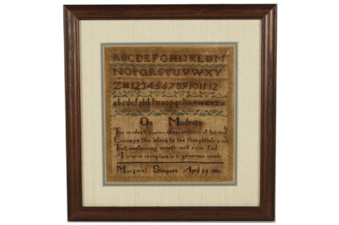 """Margaret Simpson, """"On Modesty"""" 1801 Sampler"""