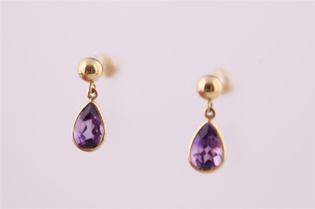 Pair of 14kt Yellow Gold and Amethyst Earrings