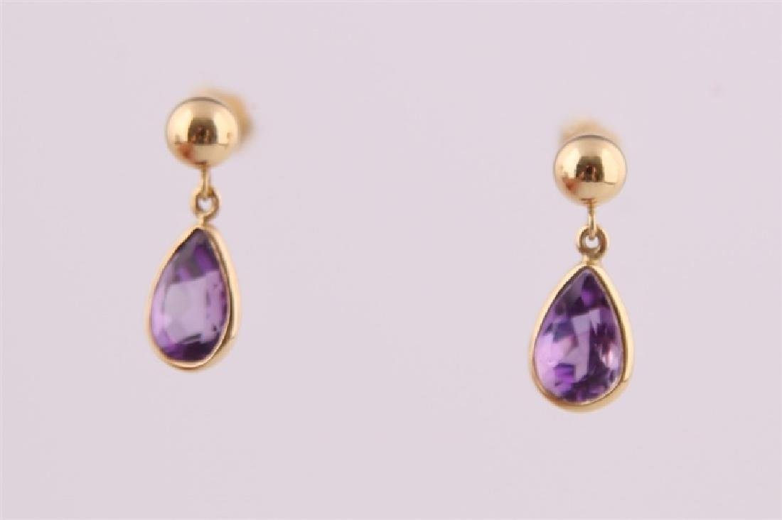 Pair of 14kt Yellow Gold and Amethyst Earrings - 2