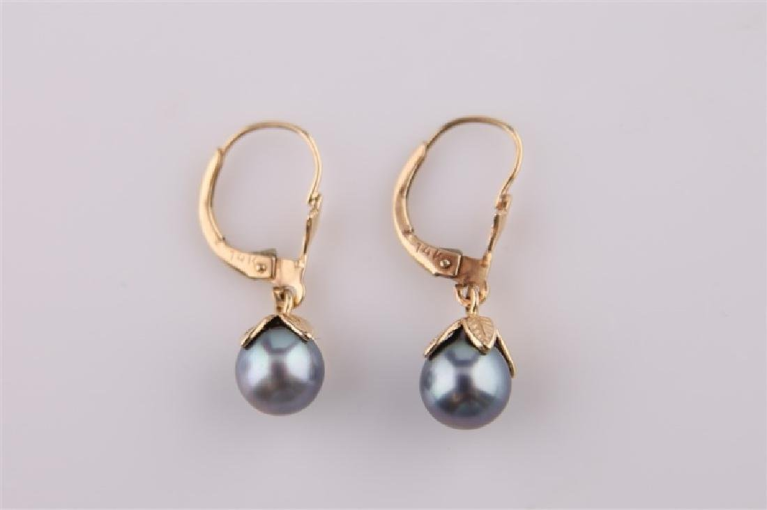 Pair of 14kt Yellow Gold and Black Pearl Earring