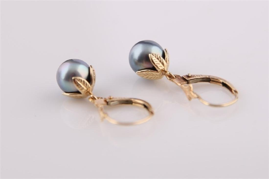 Pair of 14kt Yellow Gold and Black Pearl Earring - 2