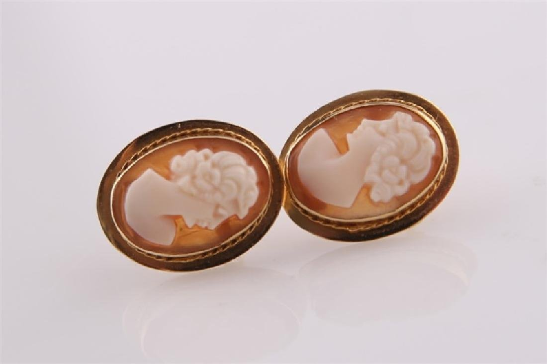 Pair of 14kt Yellow Gold Cameo Earrings