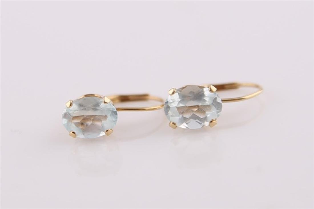 Pair of 14kt Yellow Gold Earrings with Aquamarine - 2