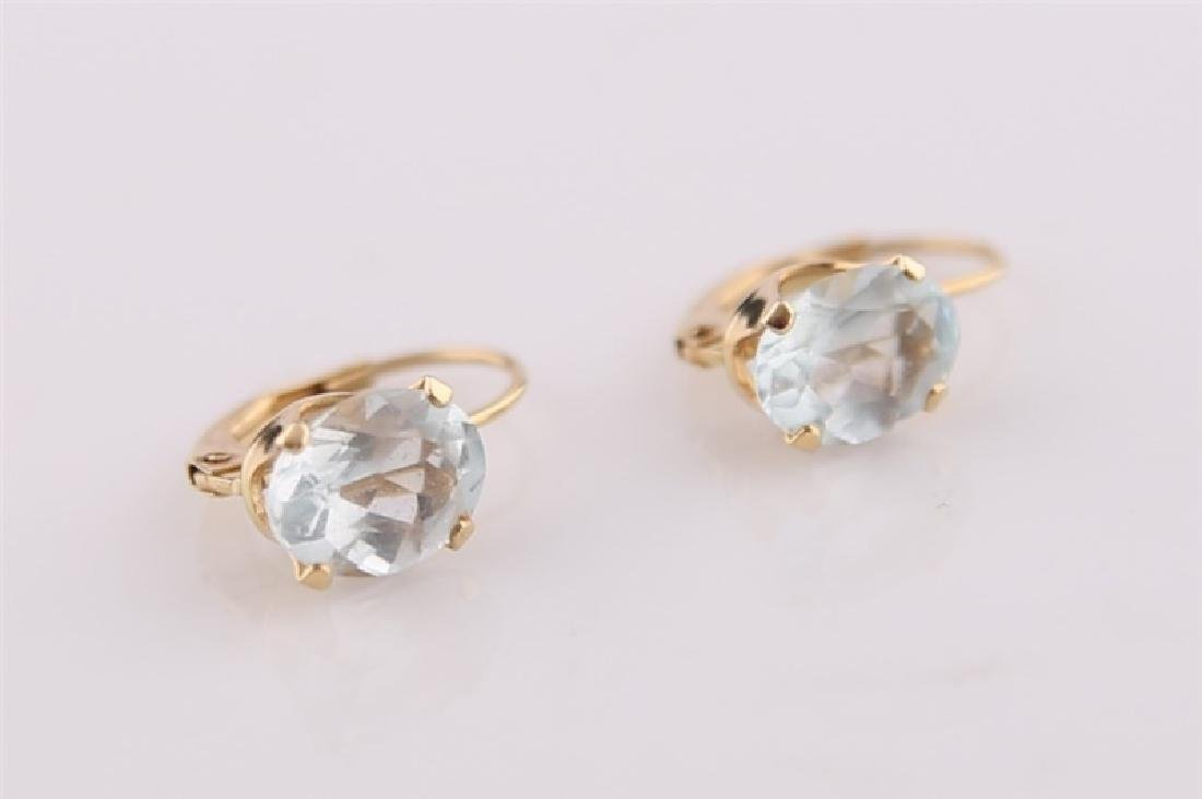 Pair of 14kt Yellow Gold Earrings with Aquamarine - 5