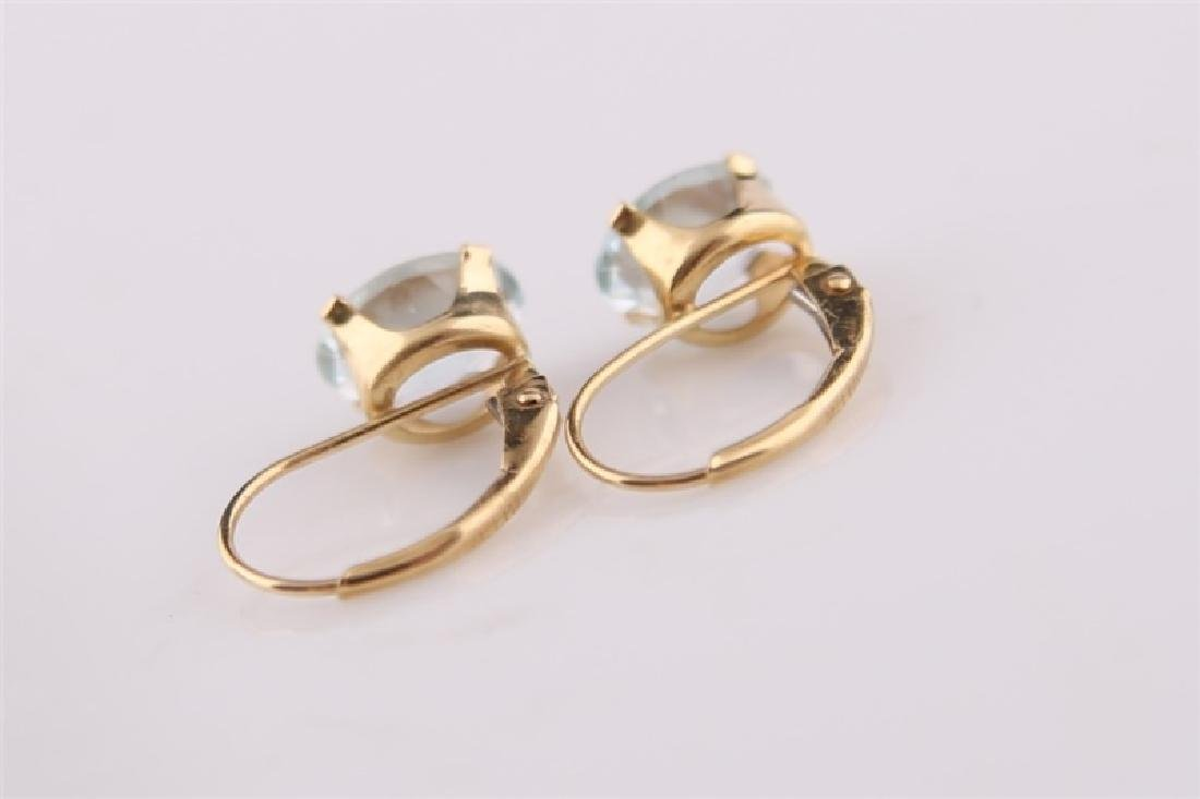 Pair of 14kt Yellow Gold Earrings with Aquamarine - 6