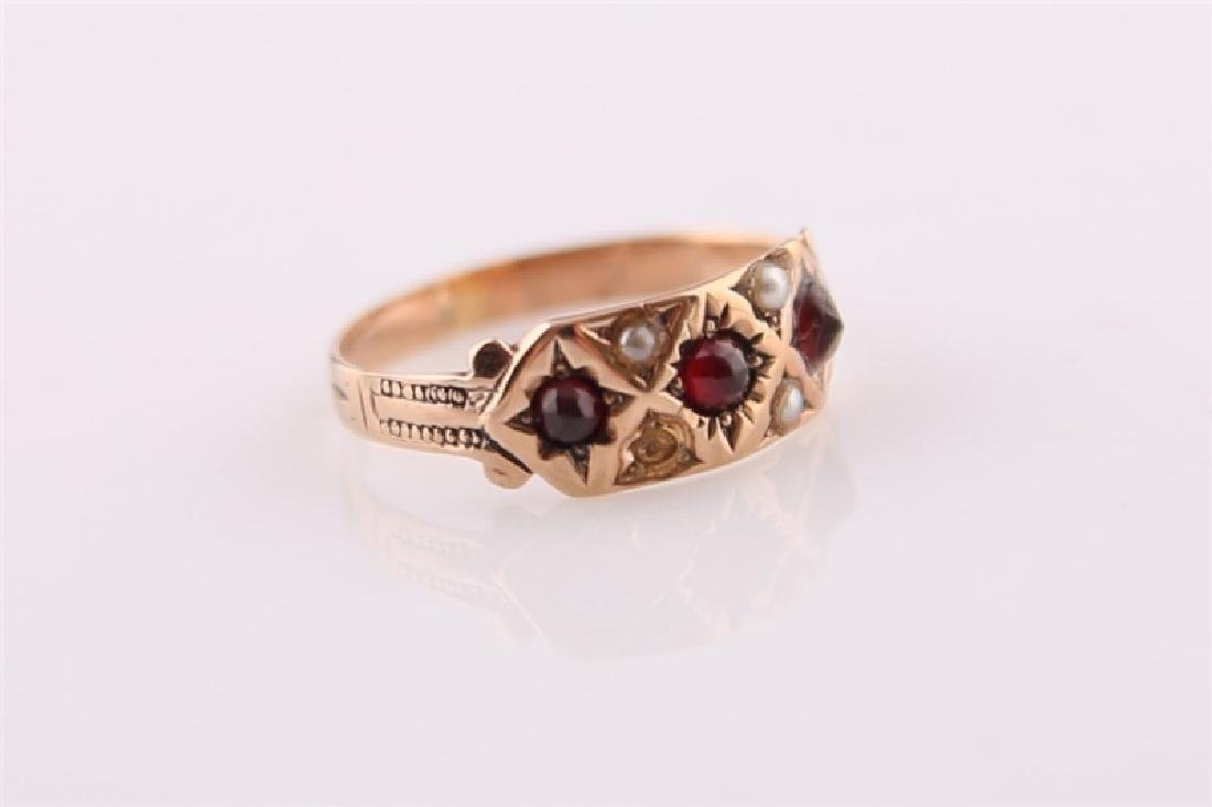 Rose Gold-Tone Ring with Garnet and Pearl