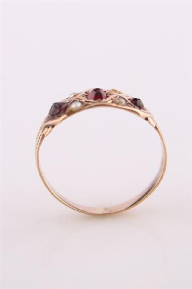 Rose Gold-Tone Ring with Garnet and Pearl - 2
