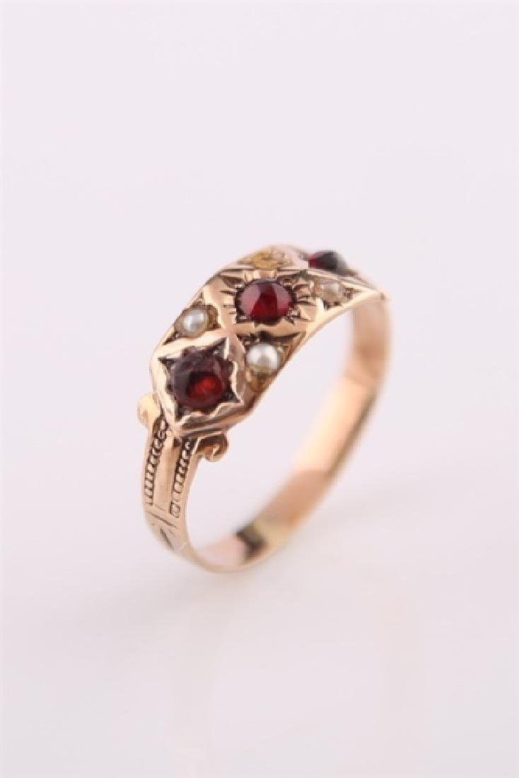 Rose Gold-Tone Ring with Garnet and Pearl - 3