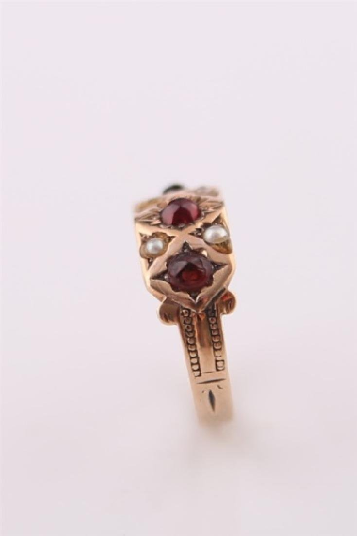 Rose Gold-Tone Ring with Garnet and Pearl - 5