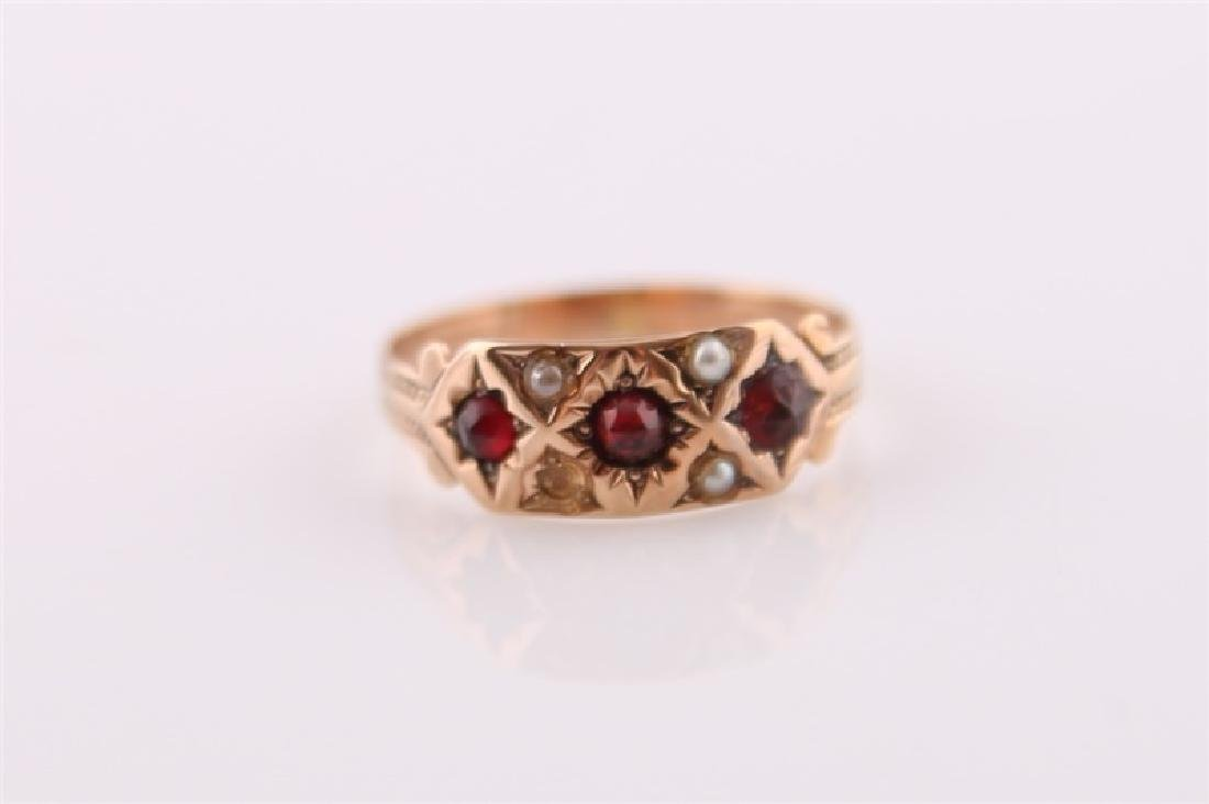 Rose Gold-Tone Ring with Garnet and Pearl - 6