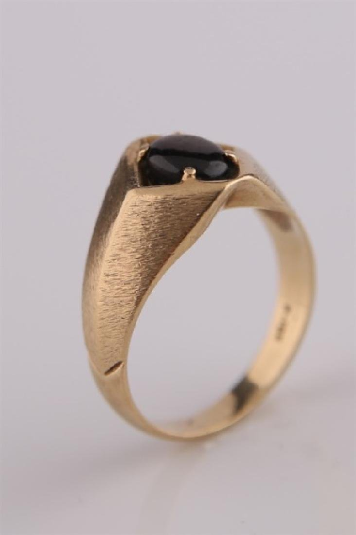 10kt Yellow Gold Ring with Brown Stone - 4