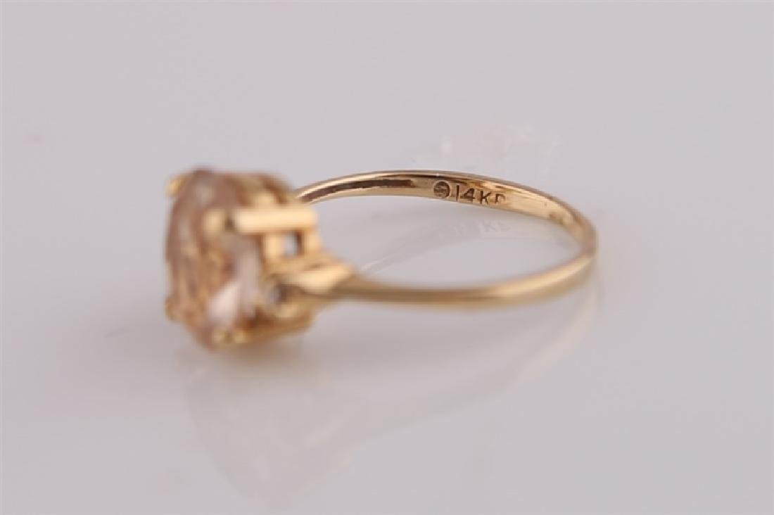 14KP Yellow Gold Ring with Morganite - 6