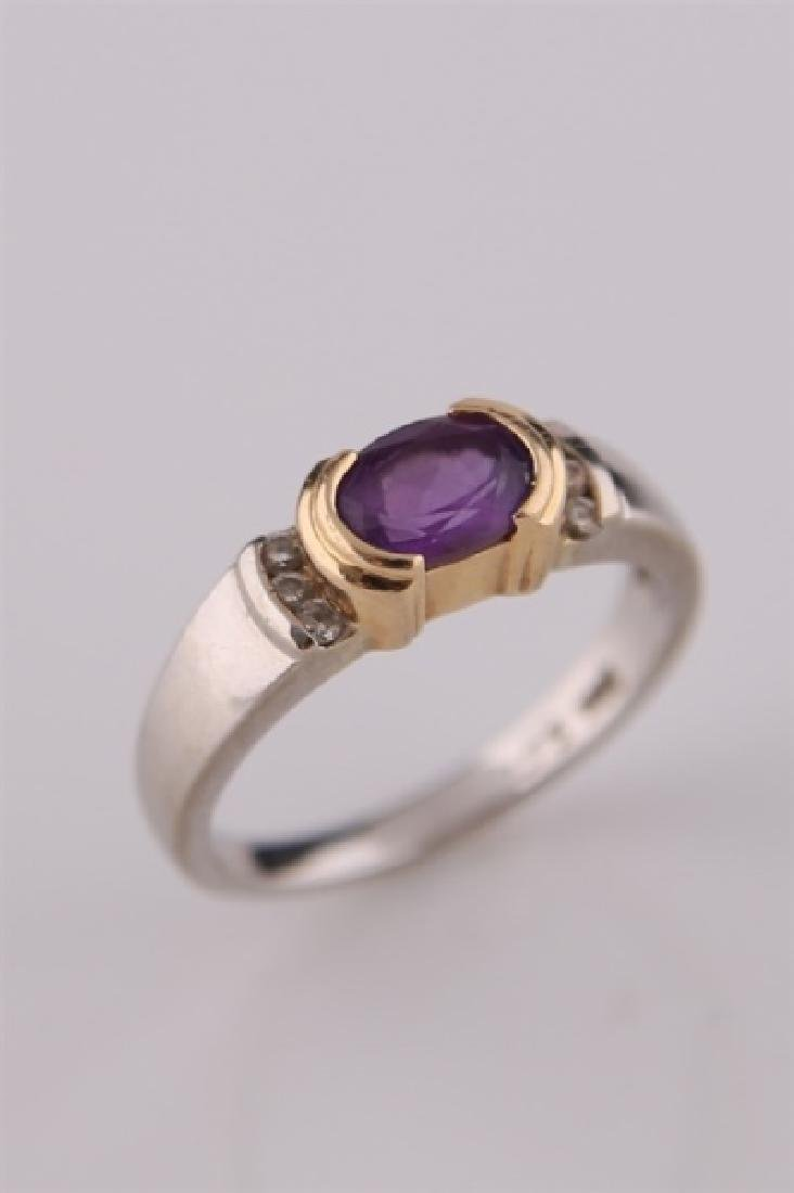 14kt White and Yellow Gold Amethyst Ring