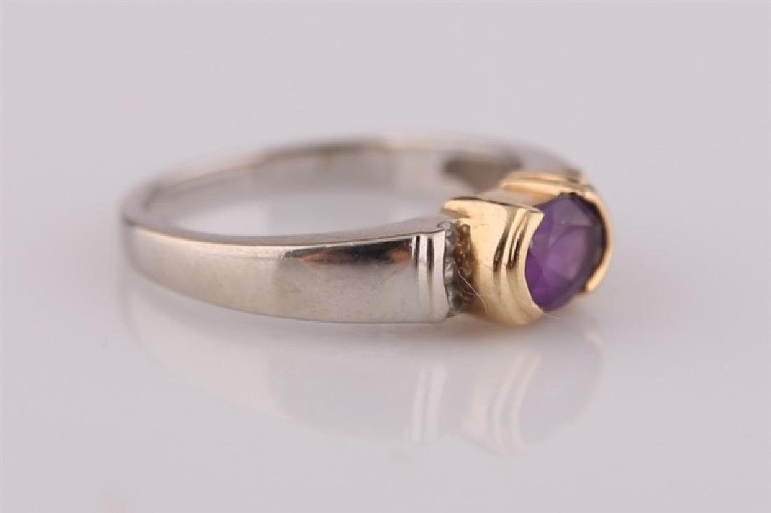 14kt White and Yellow Gold Amethyst Ring - 3