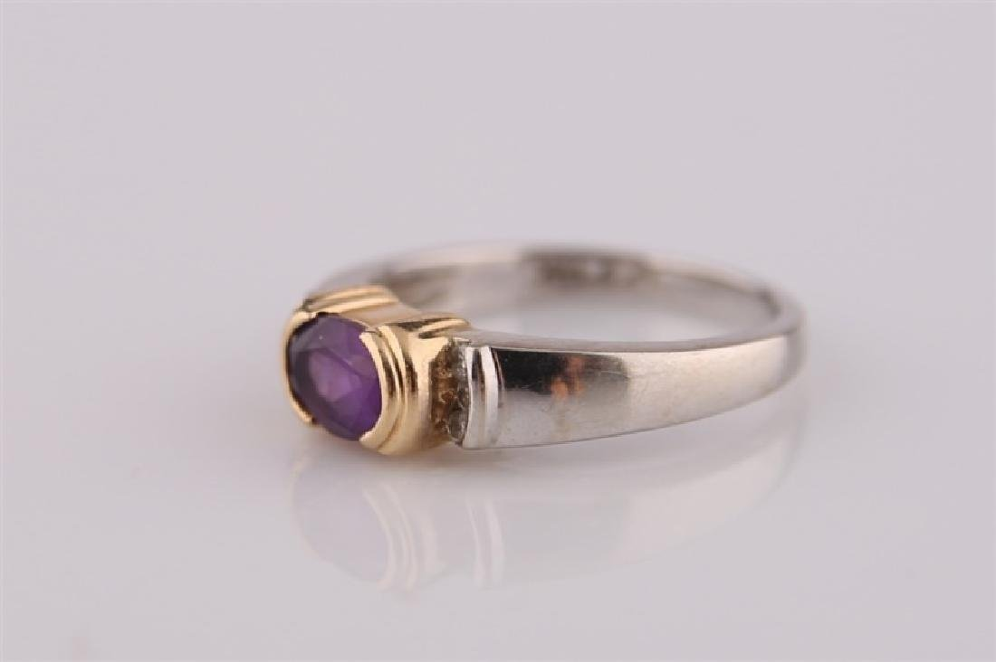 14kt White and Yellow Gold Amethyst Ring - 4