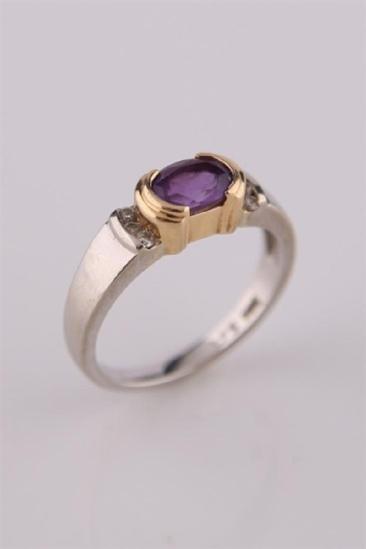 14kt White and Yellow Gold Amethyst Ring - 7