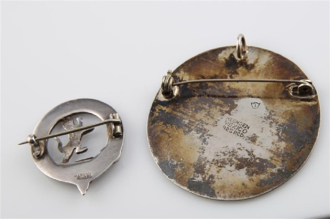 Lot of Two Sterling Silver Circular Brooches - 2