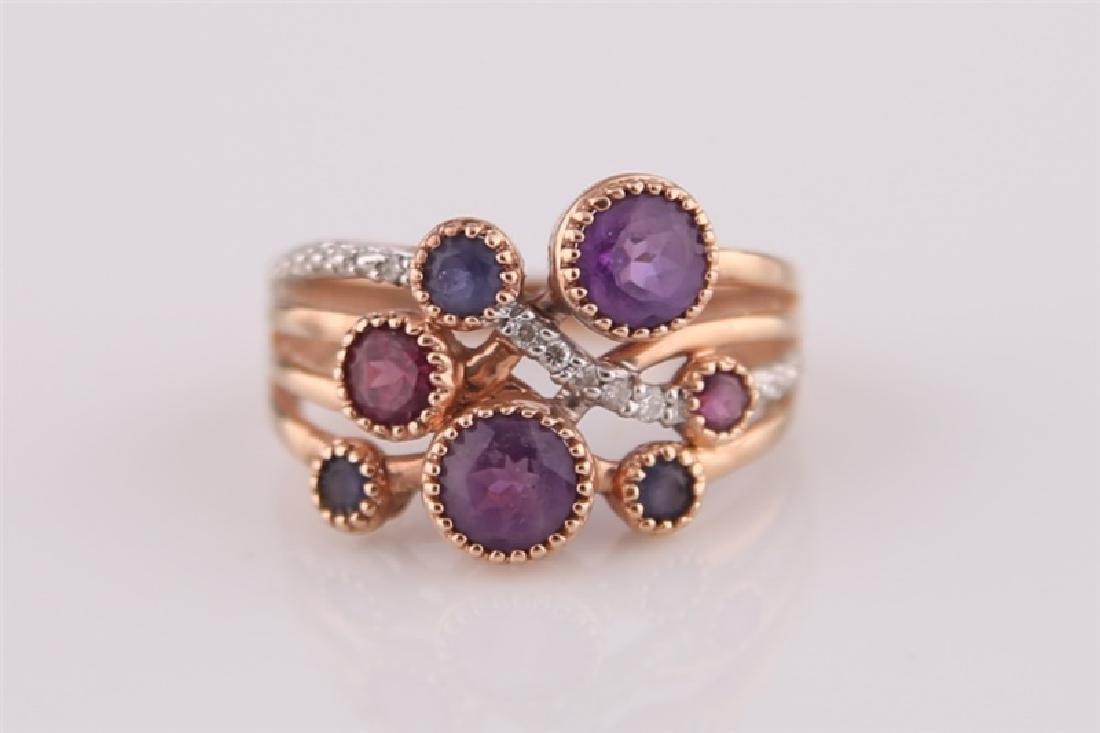 14kt Rose Gold, Purple Stones, Diamonds Ring