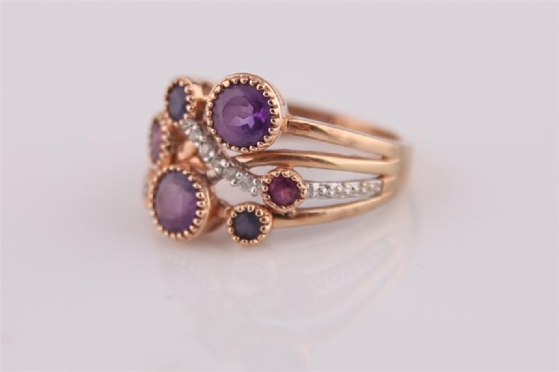 14kt Rose Gold, Purple Stones, Diamonds Ring - 2