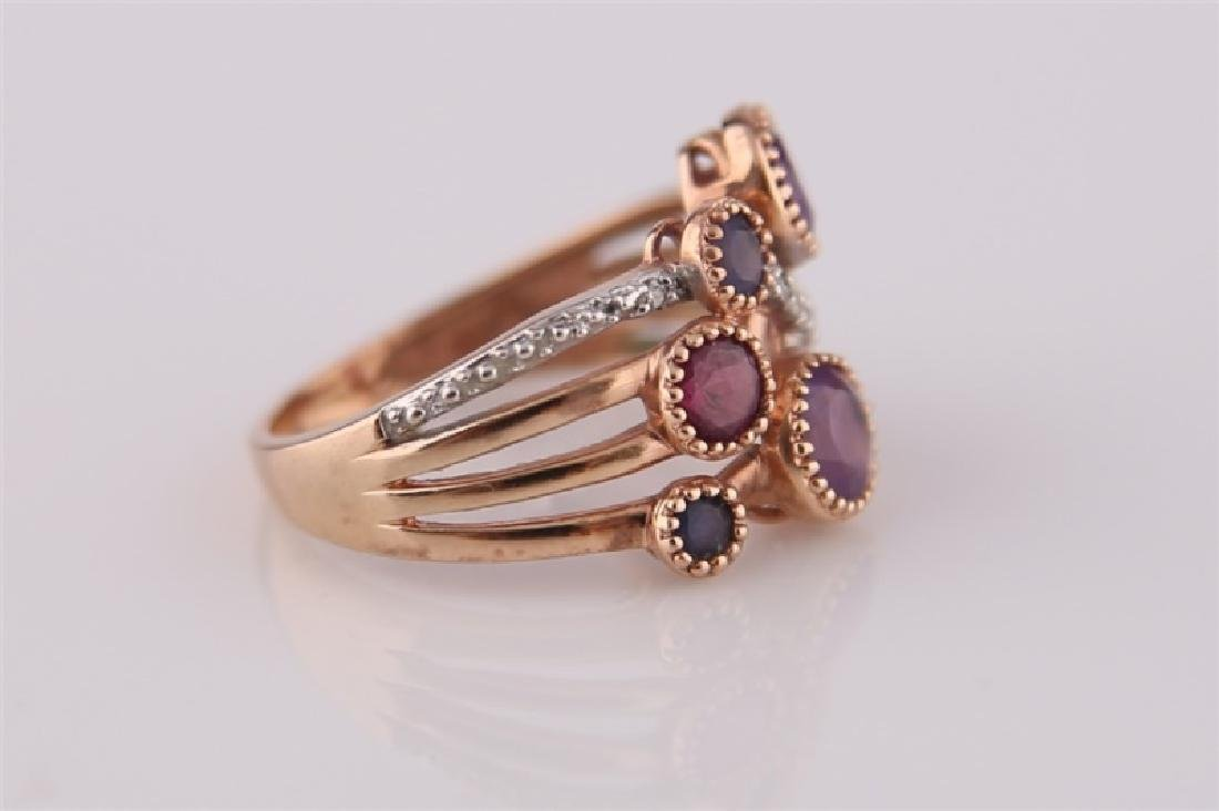 14kt Rose Gold, Purple Stones, Diamonds Ring - 3