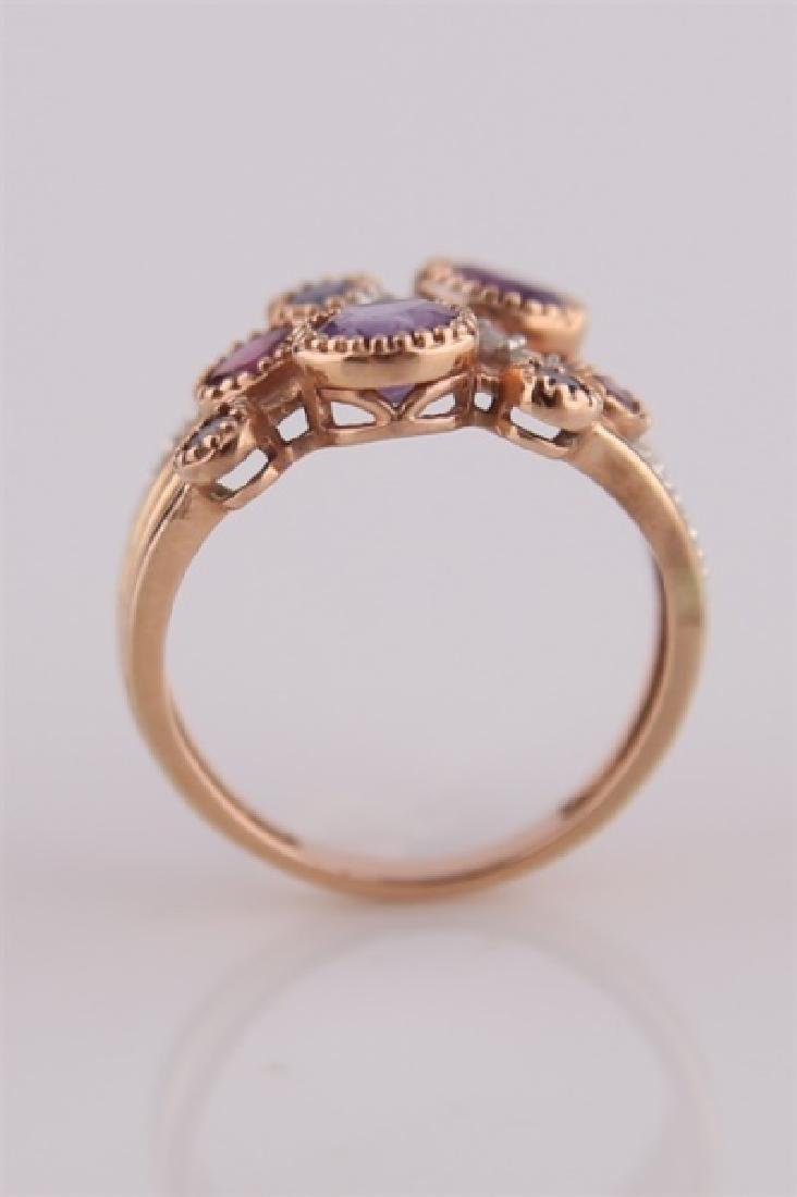 14kt Rose Gold, Purple Stones, Diamonds Ring - 4