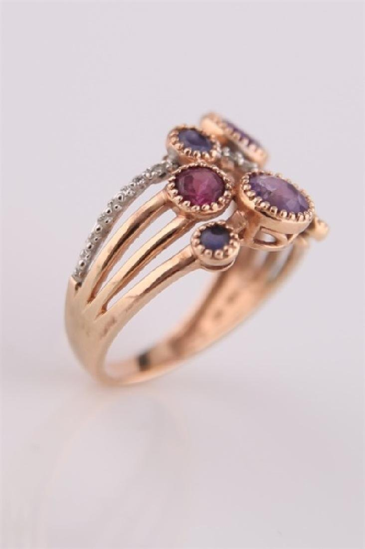 14kt Rose Gold, Purple Stones, Diamonds Ring - 5